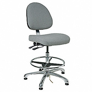 "Fabric ESD Task Chair with 20 to 27-1/2"" Seat Height Range and 300 lb. Weight Capacity, Gray"