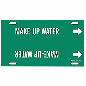 Pipe Marker, Make Up Water, Grn, 10 to15 In