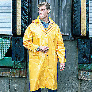 "Unisex Yellow PVC Rain Coat with Detachable Hood, Size S, Fits Chest Size 34"" to 36"", 48"" Jacket Len"