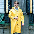 Unisex Yellow PVC Rain Coat with Detachable Hood, Size S, Fits Chest Size 34