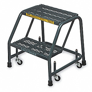 "2-Step Rolling Ladder, Expanded Metal Step Tread, 19"" Overall Height, 450 lb. Load Capacity"