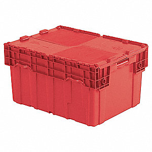 Attached Lid Container,4.0 cu ft,Red