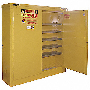 "43"" x 12"" x 46"" Galvanized Steel Flammable Liquid Safety Cabinet with Self-Closing Doors, Yellow"