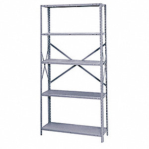 "42"" x 42"" x 87"" Steel Shelf, Gray&#x3b; PK1"