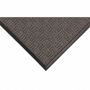 "Indoor Entrance Mat, 3 ft. L, 3 ft. W, 3/16"" Thick, Rectangle, Charcoal"
