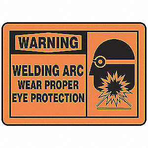 "Personal Protection, Warning, Aluminum, 10"" x 14"", With Mounting Holes, Not Retroreflective"