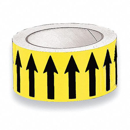 Banding Tape,  Background Color Yellow,  Vinyl,  Pipe Marker Mounting Style Adhesive Pipe Marker