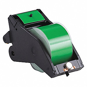 "Black/Green Vinyl Film Label Tape Cartridge, Indoor/Outdoor Label Type, 90 ft. Length, 2-1/4"" Width"