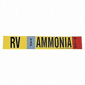 "Ammonia Vapor Pipe Marker, Fits Pipe O.D. 8"" and Above, High Pressure Level, RV, 1 EA"