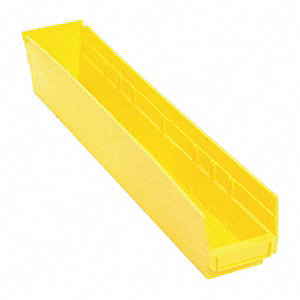 "Shelf Bin, Yellow, 4""H x 23-5/8""L x 4-1/8""W, 1EA"