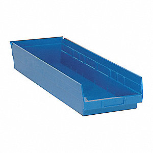 "Shelf Bin, Blue, 4""H x 23-5/8""L x 8-3/8""W, 1EA"