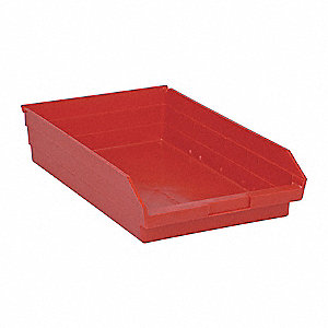 "Shelf Bin, Red, 17-7/8"" Outside Length, 11-1/8"" Outside Width, 4"" Outside Height"