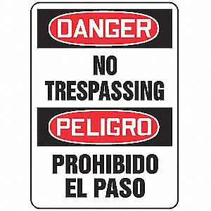"Trespassing and Property, Danger/Peligro, Plastic, 14"" x 10"", With Mounting Holes"