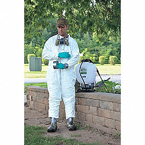 Collared Disposable Coveralls with Open Cuff, White, L, Tyvek®