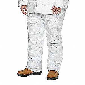 Disposable Pants, 3XL, White, Tyvek® Material, EA 1