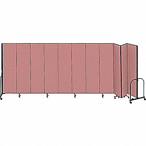 20 ft. 5 in. x 8 ft., 11-Panel Portable Room Divider, Mauve