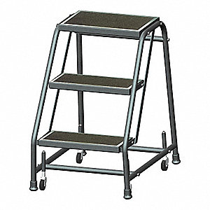 "3-Step Rolling Ladder, Abrasive Mat Step Tread, 28-1/2"" Overall Height, 450 lb. Load Capacity"