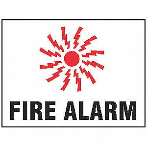Fire Alarm Sign,7 x 10In,R and BK/WHT,AL