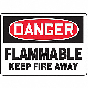 Danger Flammable Fire Sign,7 x 10In,ENG