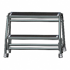 "2-Step Rolling Ladder, Abrasive Mat Step Tread, 19"" Overall Height, 450 lb. Load Capacity"