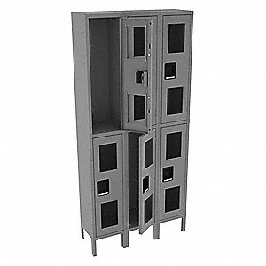 "Gray Wardrobe Locker, (3) Wide, (2) Tier Openings: 6, 36"" W X 12"" D X 78"" H"