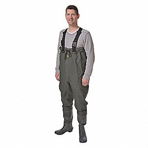 Men's Plain Toe, 300 Denier Nylon Lamination to Rubber Chest Waders, Dark Green, Sz 10