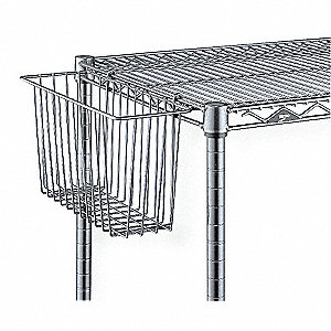 "17-3/8"" x 7-1/2"" x 10"" Steel Storage Basket, Silver&#x3b; PK1"