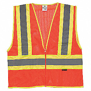 High Visibility Vest,Class 2,M,Orange