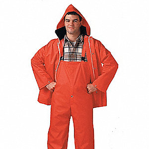 "Men's Hi-Visibility Orange PVC 2-Piece Rainsuit, Size: M, Fits Chest Size: 40"" to 42"""