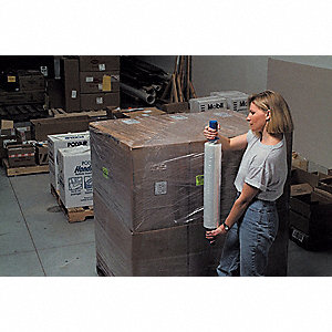 "Stretch Wrap, Hand Dispensed, 1-Side Cling, Standard, 20"" x 1000 ft., Gauge: 70, Clear"