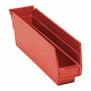 "Shelf Bin, Red, 4""H x 11-5/8""L x 2-3/4""W, 1EA"