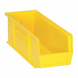 "Hang and Stack Bin, Yellow, 14-3/4"" Outside Length, 5-1/2"" Outside Width, 5"" Outside Height"