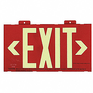 Exit Sign,8 x 15In,GRN/R,Metal