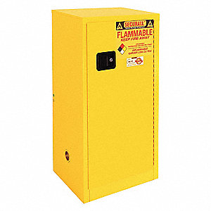 "24"" x 18"" x 44"" Galvanized Steel Flammable Liquid Safety Cabinet with Manual Doors, Yellow"