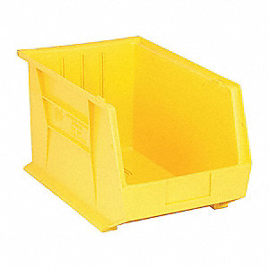 "Hang and Stack Bin, Yellow, 18"" Outside Length, 11"" Outside Width, 10"" Outside Height"