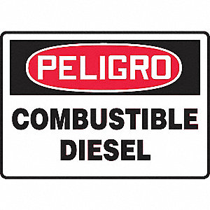 "Chemical, Gas or Hazardous Materials, Peligro, Vinyl, 7"" x 10"", Adhesive Surface"