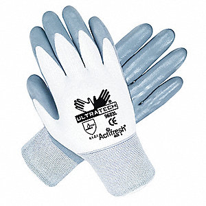 15 Gauge Flat Nitrile Coated Gloves, Glove Size: S, Gray/White