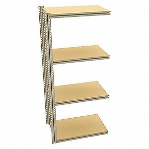 "Add-On Boltless Shelving with Particle Board Decking, 4 Shelves, 36""W x 24""D x 87""H"