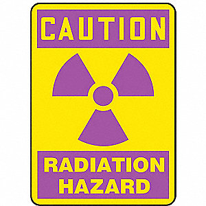 Caution Radiation Sign,10 x 7In,Pink/YEL