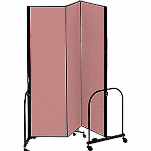 5 ft. 9 in. x 7 ft. 4 in., 3-Panel Portable Room Divider, Mauve
