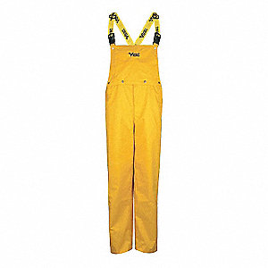 Rain Bib Overall, High Visibility: No, ANSI Class: Unrated, Nylon, PVC, XL, Yellow