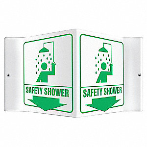 "Eyewash and Shower, No Header, Plastic, 6"" x 8-1/2"", With Mounting Holes, V-Shaped"