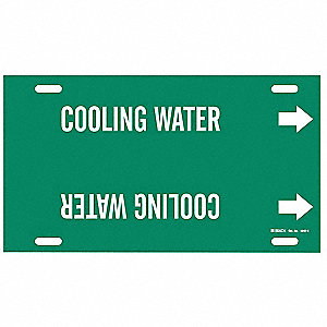 Pipe Marker,Cooling Water,Grn,10 to15 In