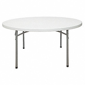 Folding Table,60 in. Dia.,Speckled Gray