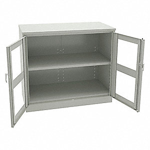 CABINET,C-THRU, 48X18X42,LIGHT GREY