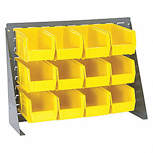 Louvered Bench Rack,27x11x21 In,Yellow