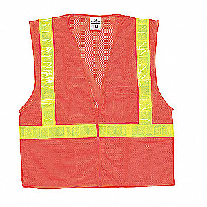 Orange/Red with Lime, ANSI 2, Zipper Closure, S