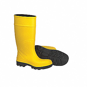 "15""H Men's Knee Boots, Steel Toe Type, Polyurethane Upper Material, Yellow, Size 11"