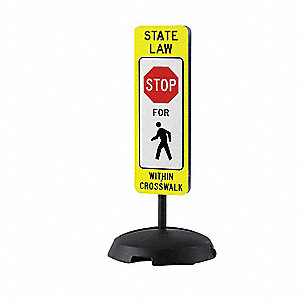 "Text and Symbol State Law Stop For Within Cross Walk, Plastic Traffic Sign, Height 36"", Width 12"""
