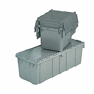 "Attached Lid Container, Gray, 7-3/4""H x 11-3/4""L x 9-3/4""W, 1EA"